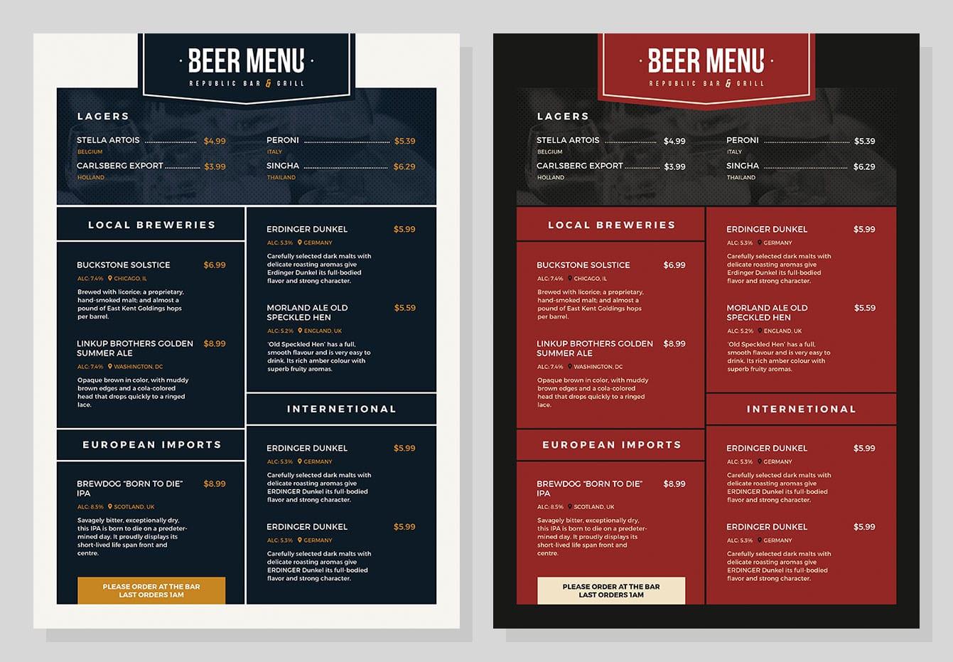 free beer menu template for photoshop  u0026 illustrator