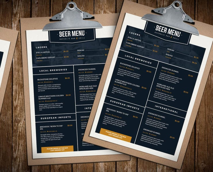 Beer Menu Template Mockup