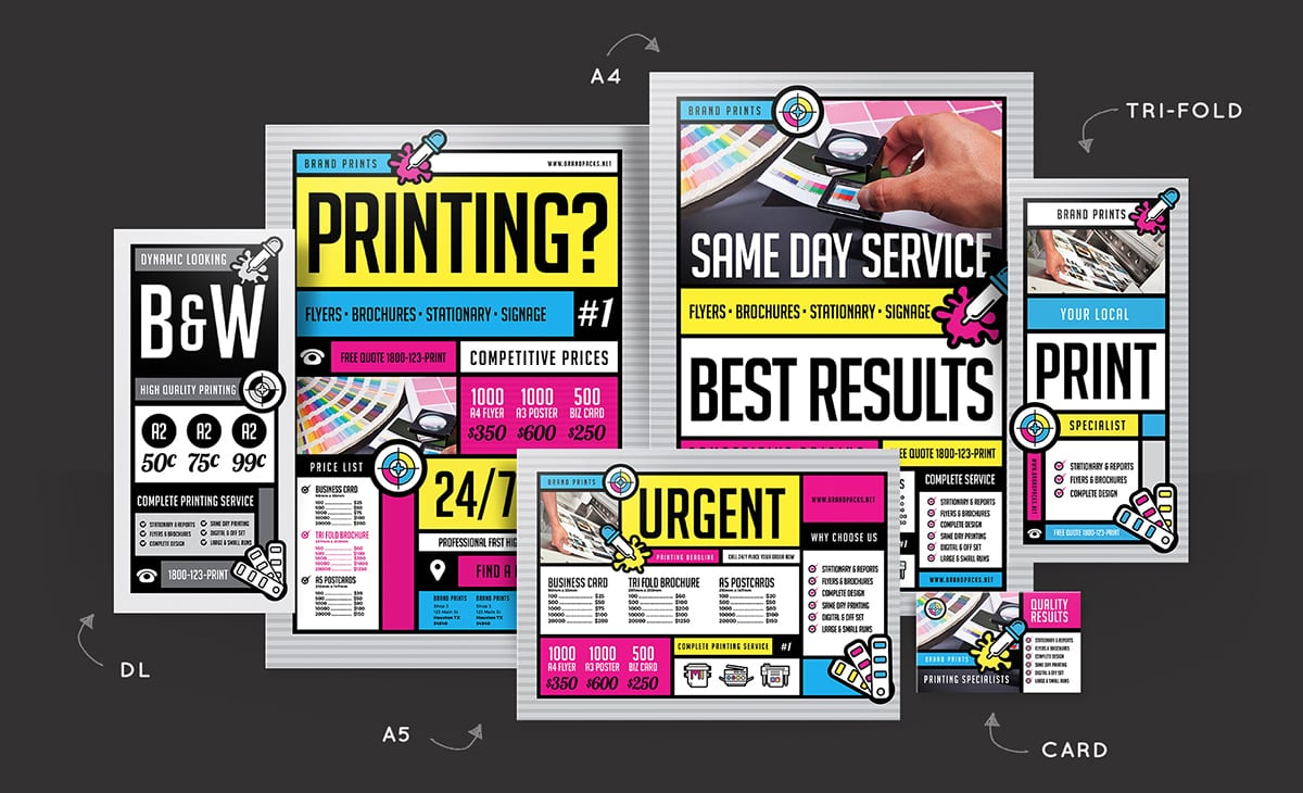 free print shop templates for local printing services