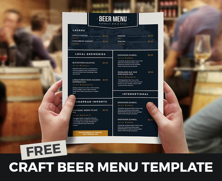 Free Craft Beer Menu Template for Photoshop & Illustrator