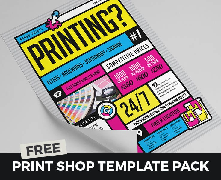 Free Print Shop Template Pack for Photoshop & Illustrator