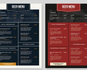 Beer Menu Template (Colour changes)