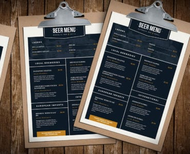 Free Beer Menu Templates