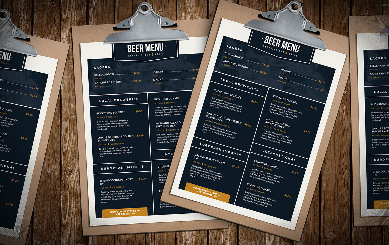 Free Beer Menu Template for Photoshop & Illustrator - BrandPacks