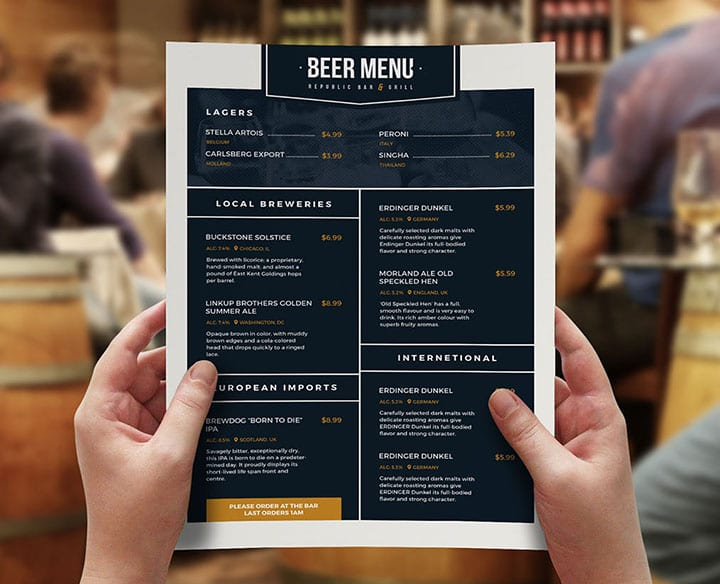Free Beer Menu Template