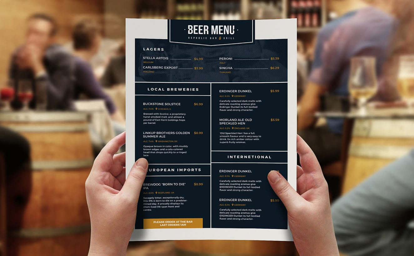 Free Beer Menu Template for Photoshop & Illustrator - BrandPacks