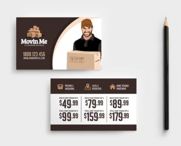 Free House Movers Business Card Template