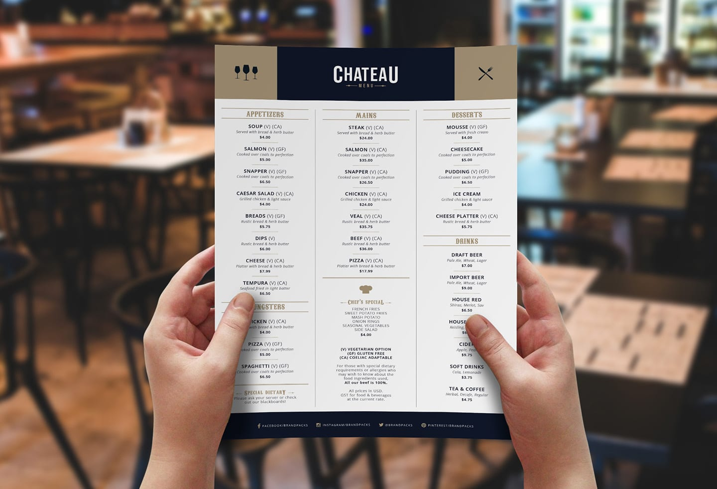 Free Menu Template for Photoshop & Illustrator