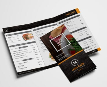 Free Trifold Menu Template for Photoshop & Illustrator