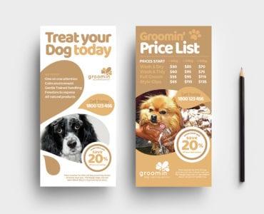 Free Pet Grooming Rack Card Template