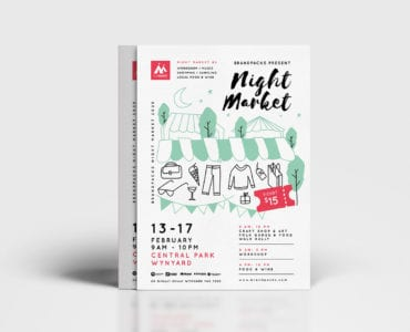 Free Night Market Poster Template