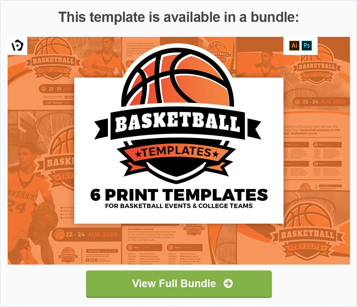 basketball tri fold brochure template for photoshop illustrator
