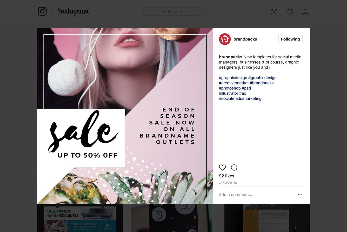 instagram layout psd free instagram templates in psd, ai & vector - brandpacks