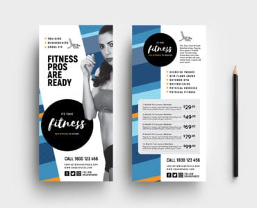 Free Fitness DL Rack Card Template