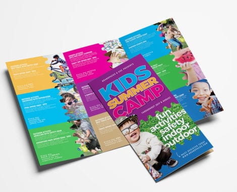 Free Kid's Camp Tri-Fold Brochure Template