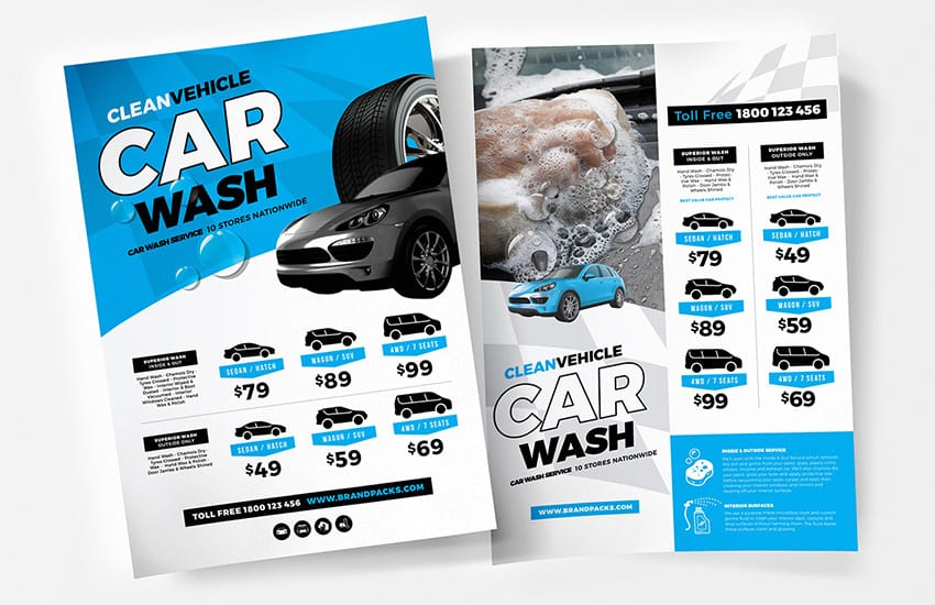 A4 Car Wash Poster Templates