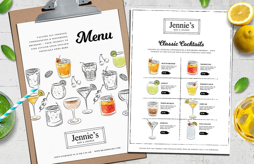 Contemporary Cocktail Menu Template