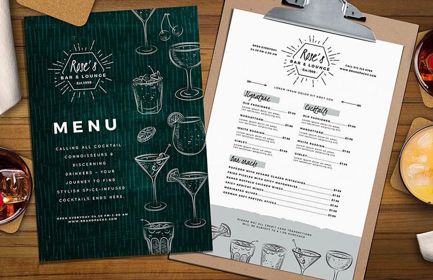 A4 Cocktail Menu Template