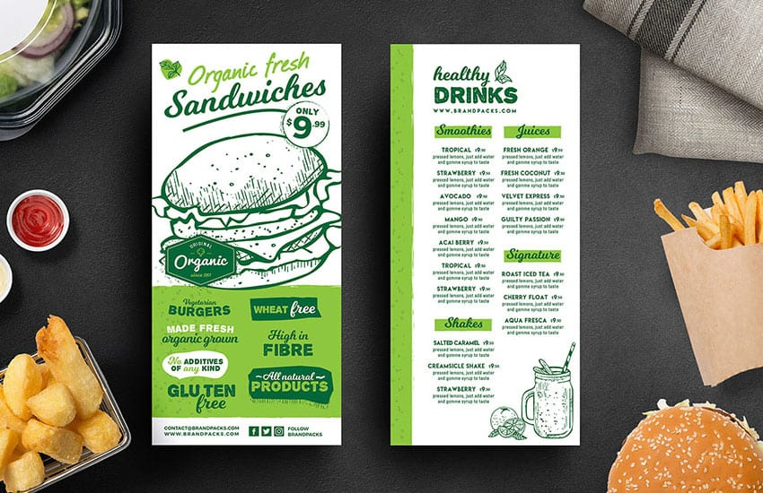 DL Burger Menu Rack Card Template