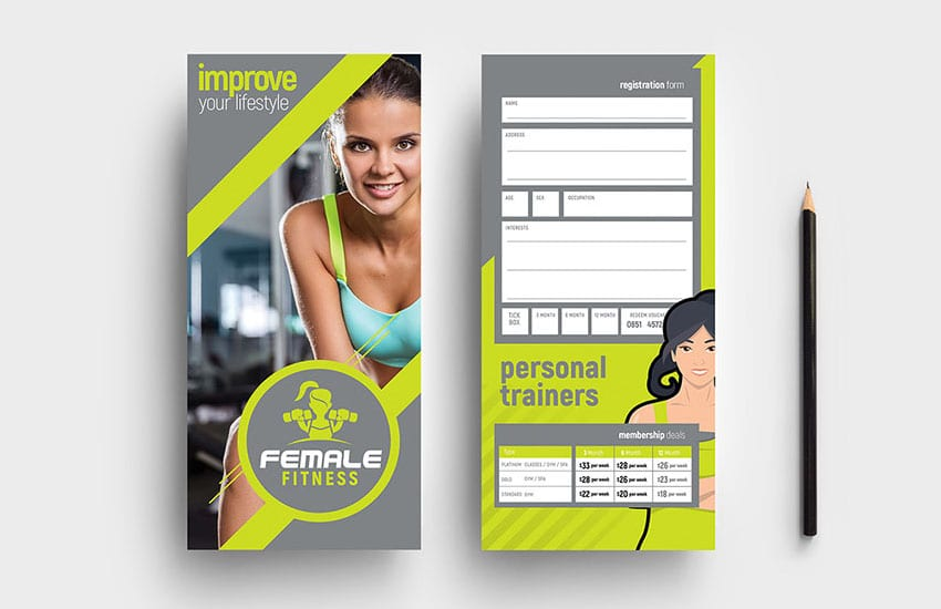Female Fitness DL Card Template