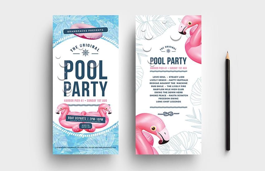 Pool Party DL Card Template