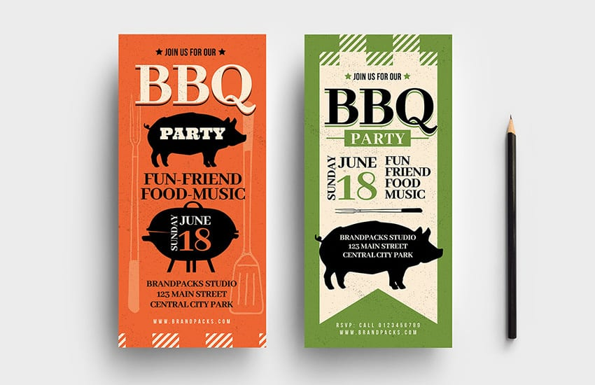 Rustic BBQ DL Rack Card Template