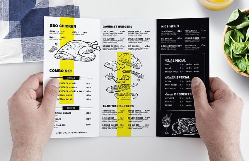 Tri-Fold Food Menu Templates