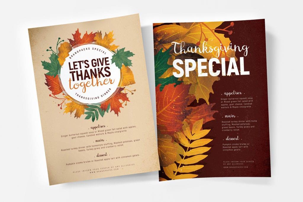 Thanksgiving Menu Poster Templates
