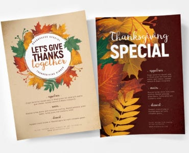Thanksgiving Menu Poster Templates