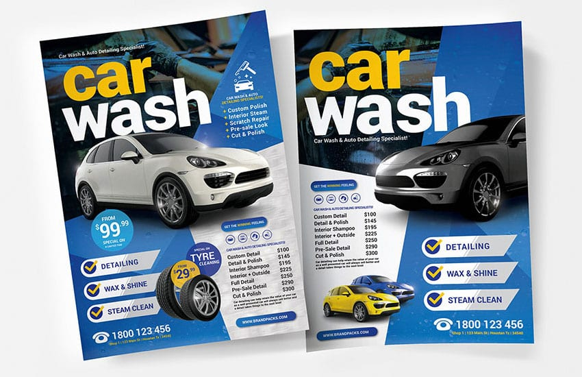 A4 Car Wash Poster Templates Vol 2