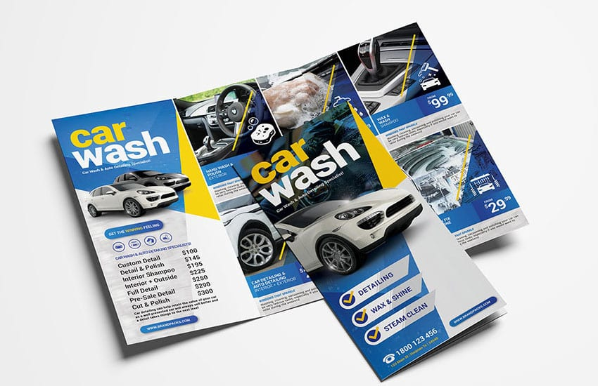 Car Wash Tri-Fold Brochure Template