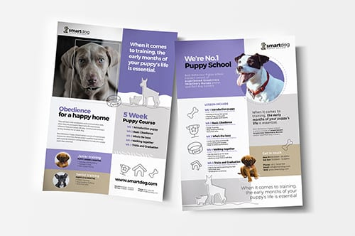 A4 Puppy School Poster Templates