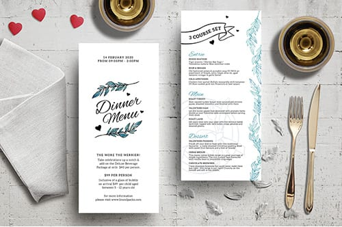 DL Valentine's Day Menu Template