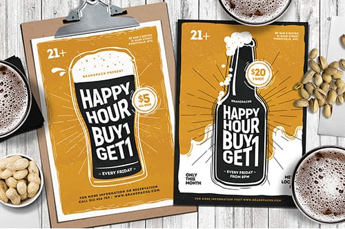 Happy Hour Poster Templates
