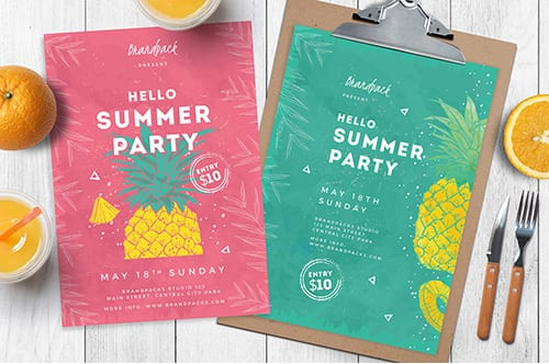 Minimal Summer Poster Flyer Templates