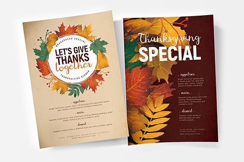 Thanksgiving Menu Poster Template