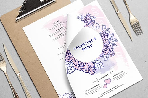 Valentines Menu Template Vol.4