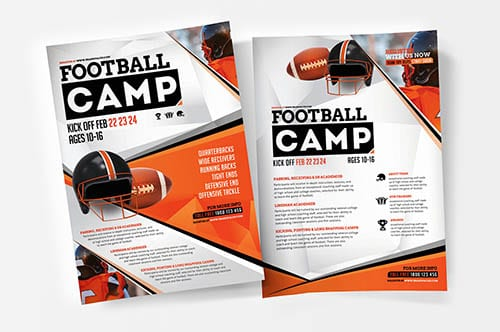 A4 American Football Camp Poster Template