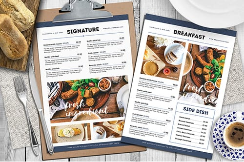 Brunch Cafe Menu Templates