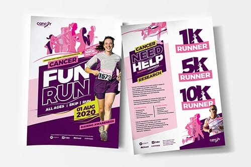 A4 Cancer Charity Fun Run Poster Template