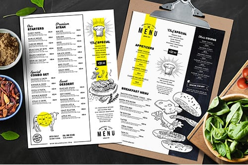 A4 Food Menu Templates