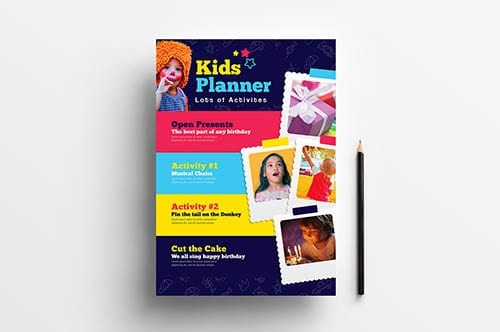 A4 Kids Party Poster Template
