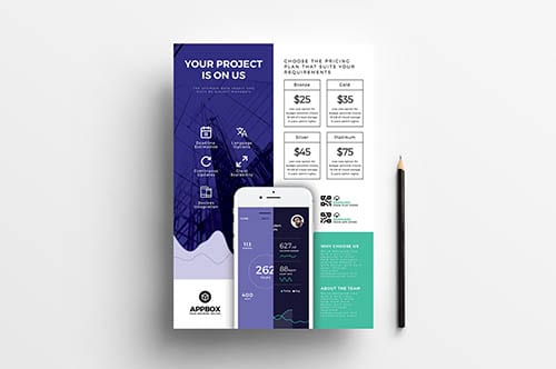 A4 Mobile App Poster Template