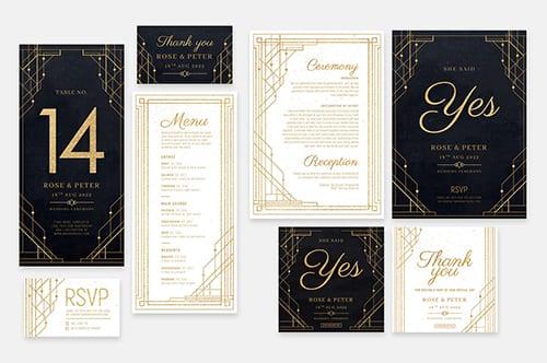 Art Deco Wedding Invitation Templates