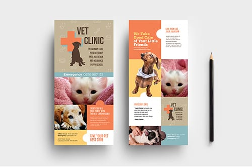 DL Vet Clinic Rack Card Template