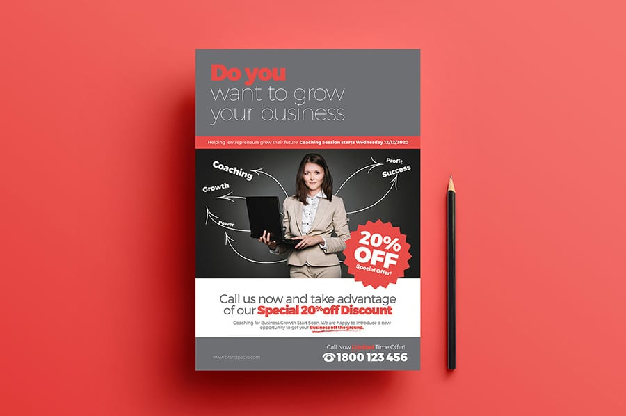 Free Business Coach Flyer Template Vector