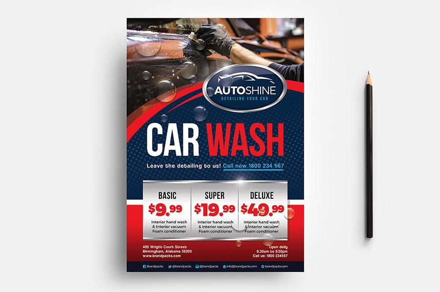 Free Car Wash Flyer Template Vector