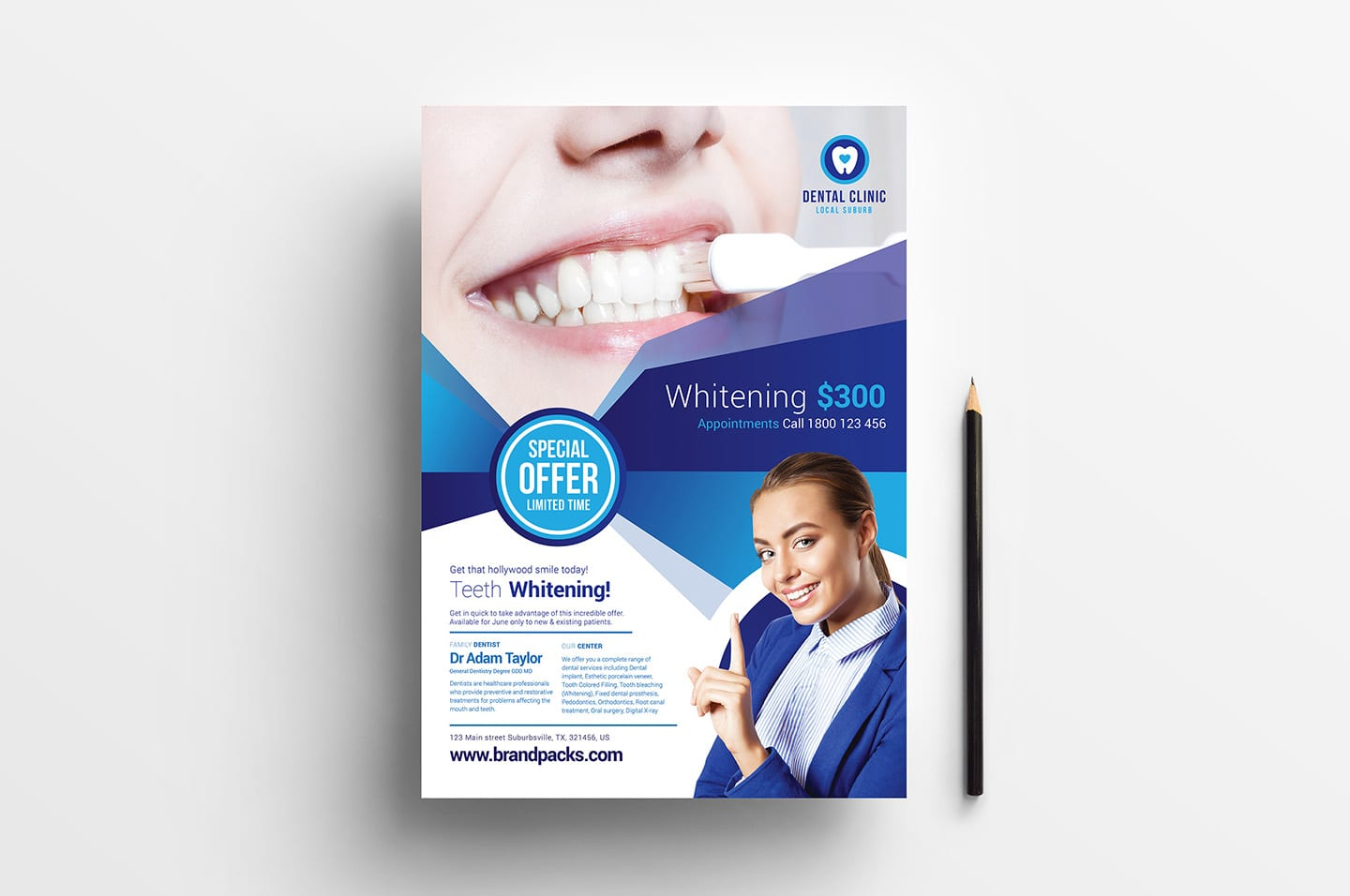 Free Dental Flyer Template Vector