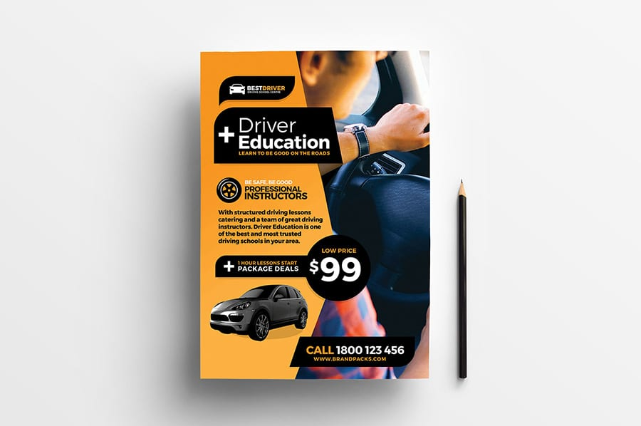 Free Driving School Vector Flyer Template