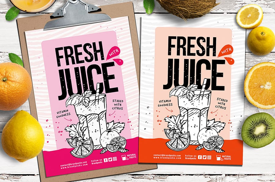 Free Juice Bar Flyer Template Vector